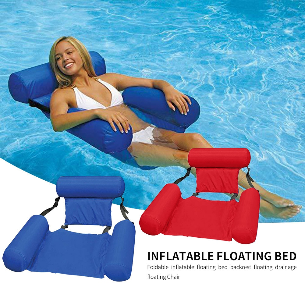 Water Hammock Recliner Swimming Pool Inflatable Mat Floating Bed Foldable Summer Air Mat Cushion Water Sleeping Lounger Chair