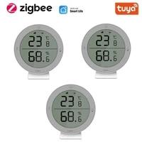 LCD Screen Display Tuya ZigBee3 0 Sensor Temperature And Humidity Sensor Tuya smart Life APP Zigbee Smart Home With Gateway