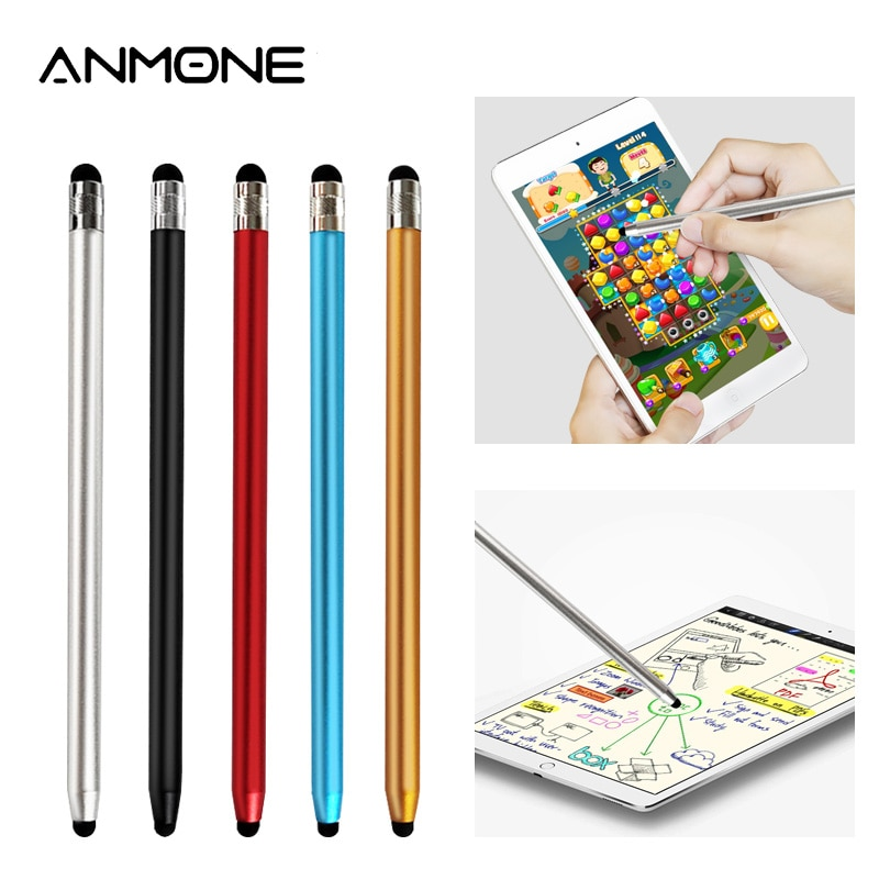 Colorful Round Dual Tips Capacitive Touch Screen Pen Dual Heads Ends Metal Stylus Pen for Mobile Pho
