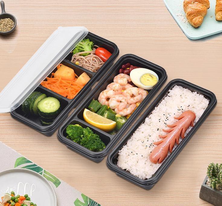 حاوية تخزين طعام بلاستيكية يمكن التخلص منها في الميكروويف ، صندوق تخزين الطعام ، وجبة آمنة ، حاوية تحضير الطعام للمطبخ المنزلي ، بالجملة
