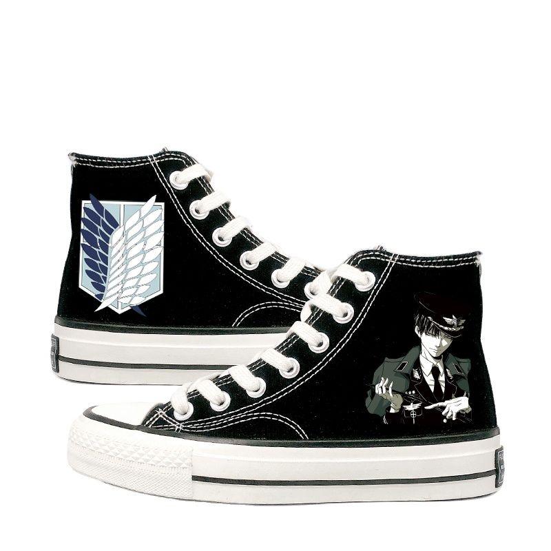 حذاء رياضي من القماش المسطح للجنسين ، بطباعة أنيمي ، هجوم على تيتان ، حذاء كاجوال للطلاب ، بطة