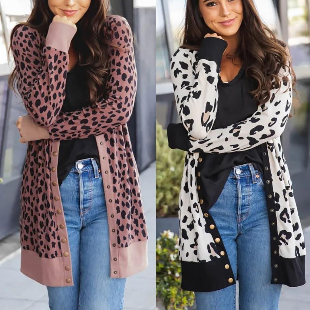Abrigo cálido de invierno para exteriores, chaqueta cárdigan larga de manga larga con estampado de botón de leopardo a la moda para mujer
