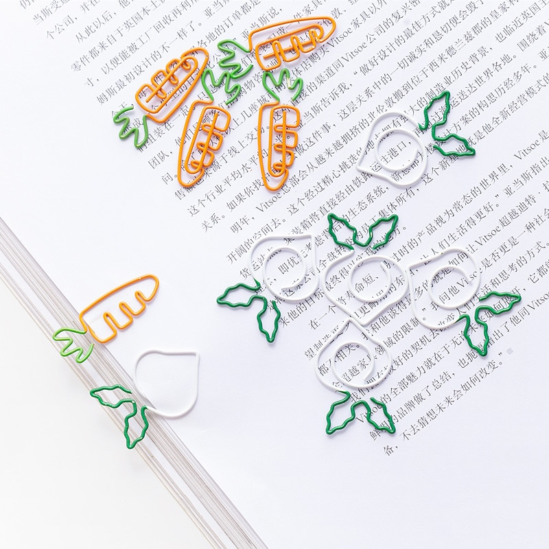 Kawaii Carrot Shape Paper Clip White Radish Bookmark Pin Cute Paper Clip Paper Clips Metal Cute Paper Clips Decorative planner