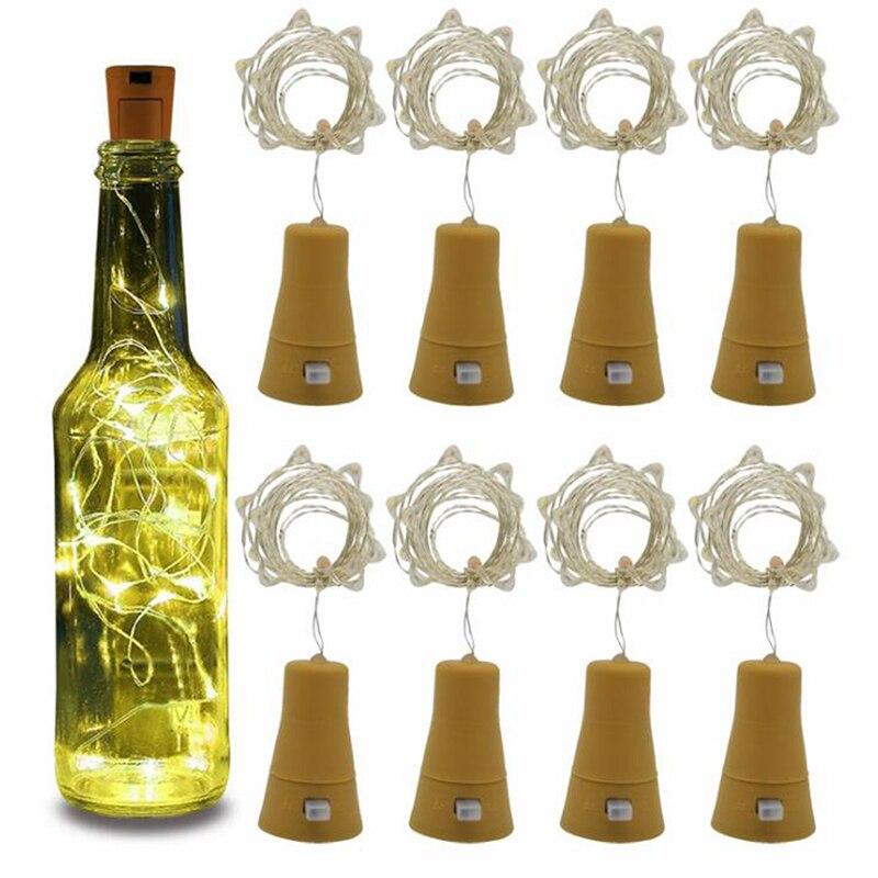 1M/2M Solar Powered Wine Bottle Cork Festival Outdoor Light Garland Lights Outdoor Fairy Light Shaped LED Copper Wire String