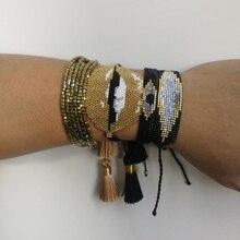 SHINUS BOHO MIYUKI Gold Lip Bracelets for Women Evil Eye pulseras Square Beaded Jewelry with Tassel Knotted Turkey Eye Bracelets