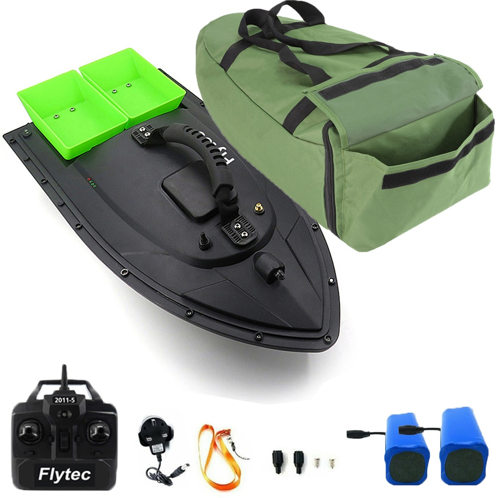 500M RC Wireless Fishing Bait Boat Carp Hook Post Boat Dual Hoppers With Handbag 2 Spare Batteries enlarge