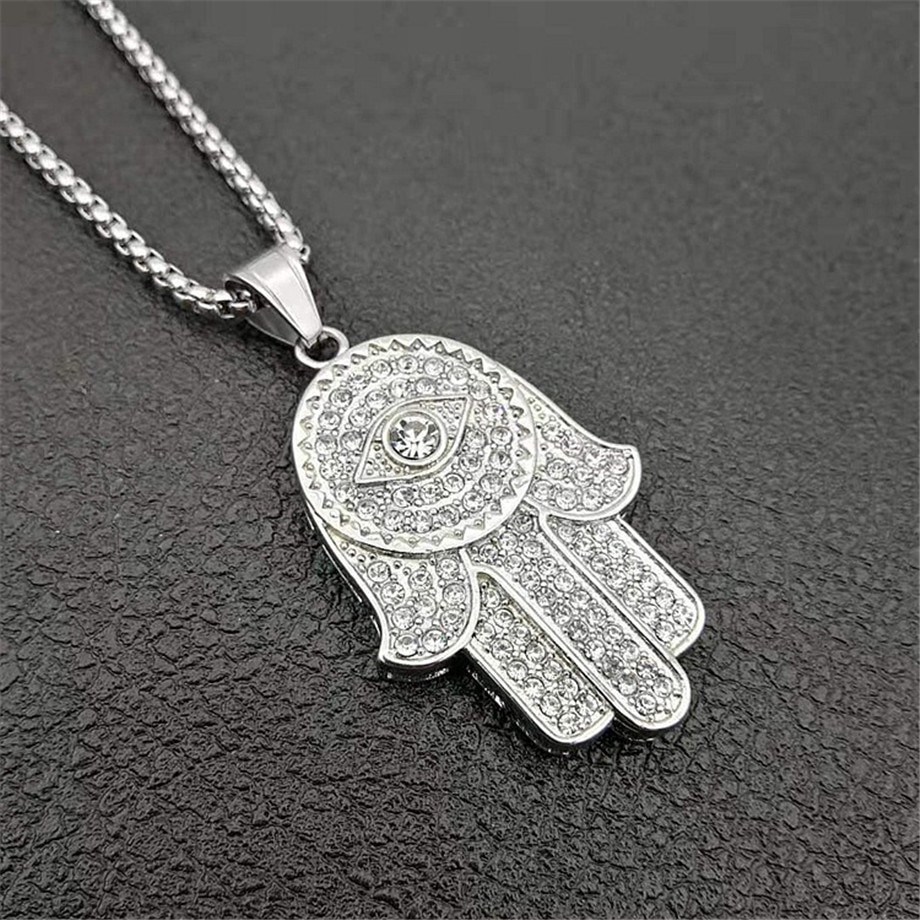 Dropship clássico mão de fátima hamsa colar pingentes prata cor corrente palm statement jóias para mulher, dropshipping center