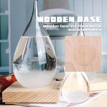 Butelka prognozująca pogodę podstawa 6.5*6.5*1.8cm figurki artykuły pulpit barometr półka solidna dekoracja z drewna wspornik kwadratowy