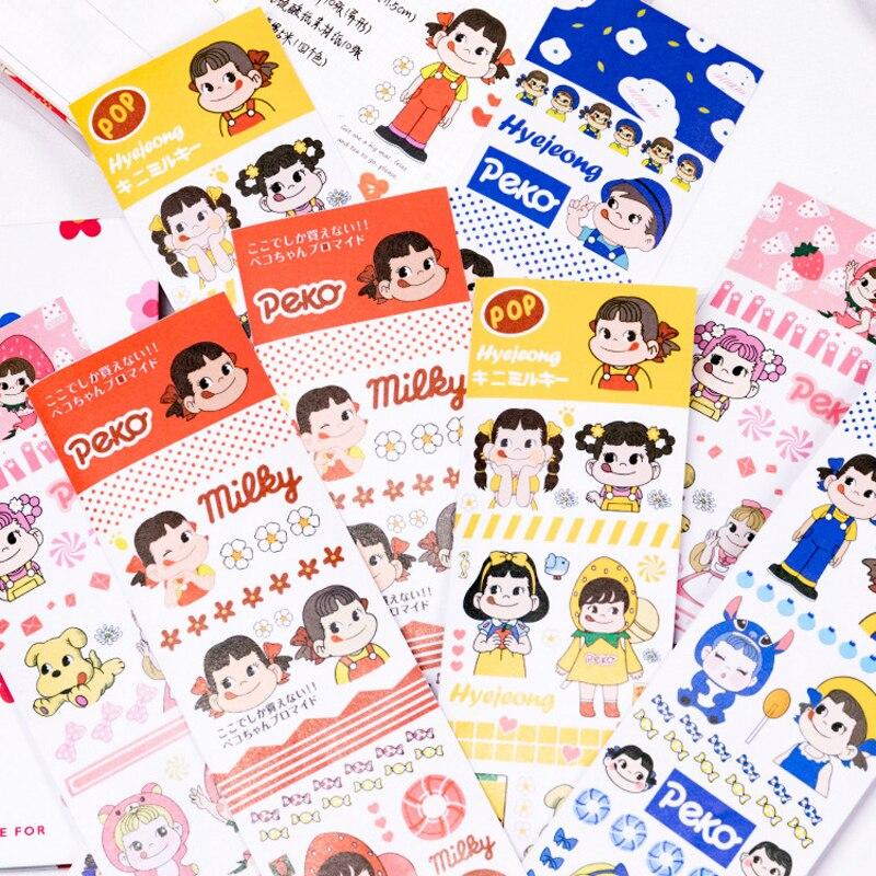 Dehmjj cor dos desenhos animados personagem washi fita adesiva liberação papel adesivos scrapbooking papelaria decorativo bonito menina fita