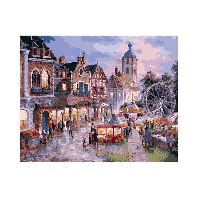5D DIY Diamond Painting Complete Diamond Town Night Market Scenery Cross Stitch Full Painting Art Christmas Gift Mosaic Mural