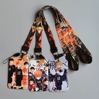 jf1148 1 set volleyball boy japanese anime characters keychain holder lanyard badge id card holder neck strap phone accessories
