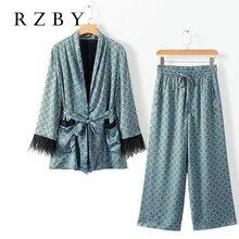 Женский Повседневный костюм RZBY, пиджак с принтом и драпировкой, широкие брюки, костюм, осень 2020, Блейзер, комплект с перьями, 2 цвета