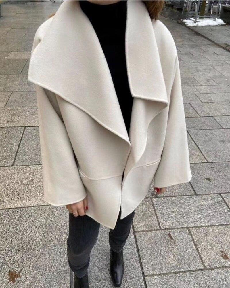 [ElfStyle] -Chaqueta de lana CASHMIRE Annecy solapa grande Collar gris oscuro melange/Negro/Marfil moda abrigo corto