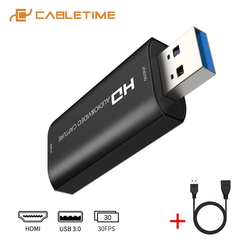 Cabletime placa de captura vídeo hdmi usb 3.0 hd 1080p áudio & gravador vídeo para o interruptor ps4 streaming ao vivo placa captura n415