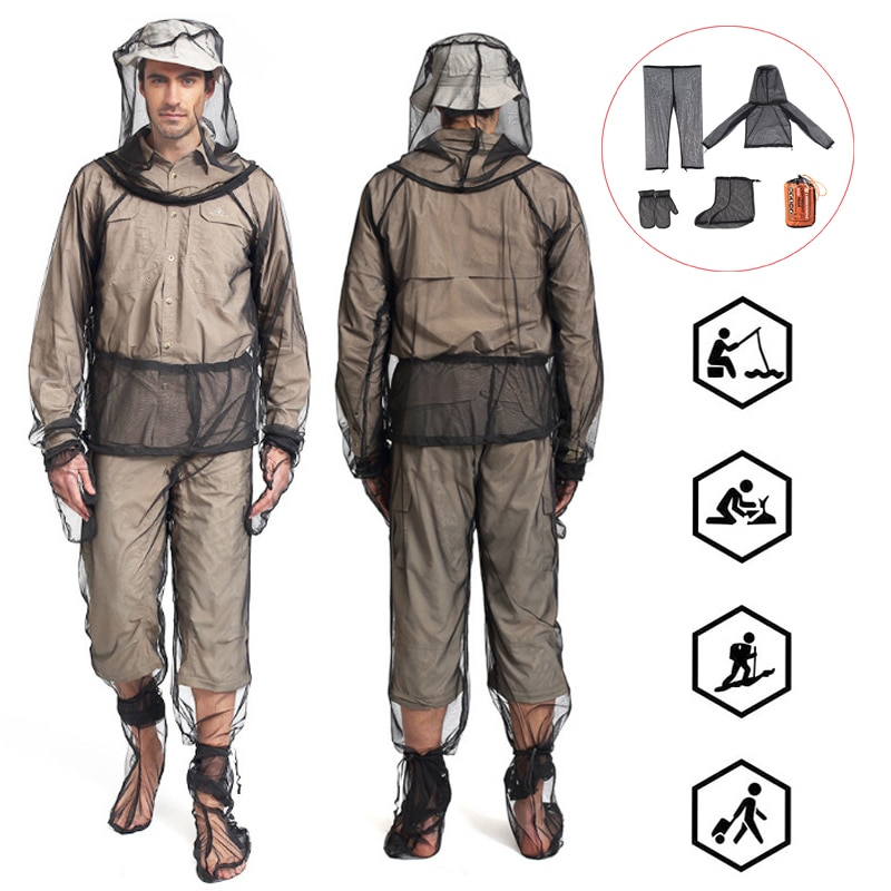 Mesh Hooded Mosquito-proof Suit Outdoor Fishing Adventure Insect-proof Clothing Set Camping Hiking Anti-mosquito Bite Clothes