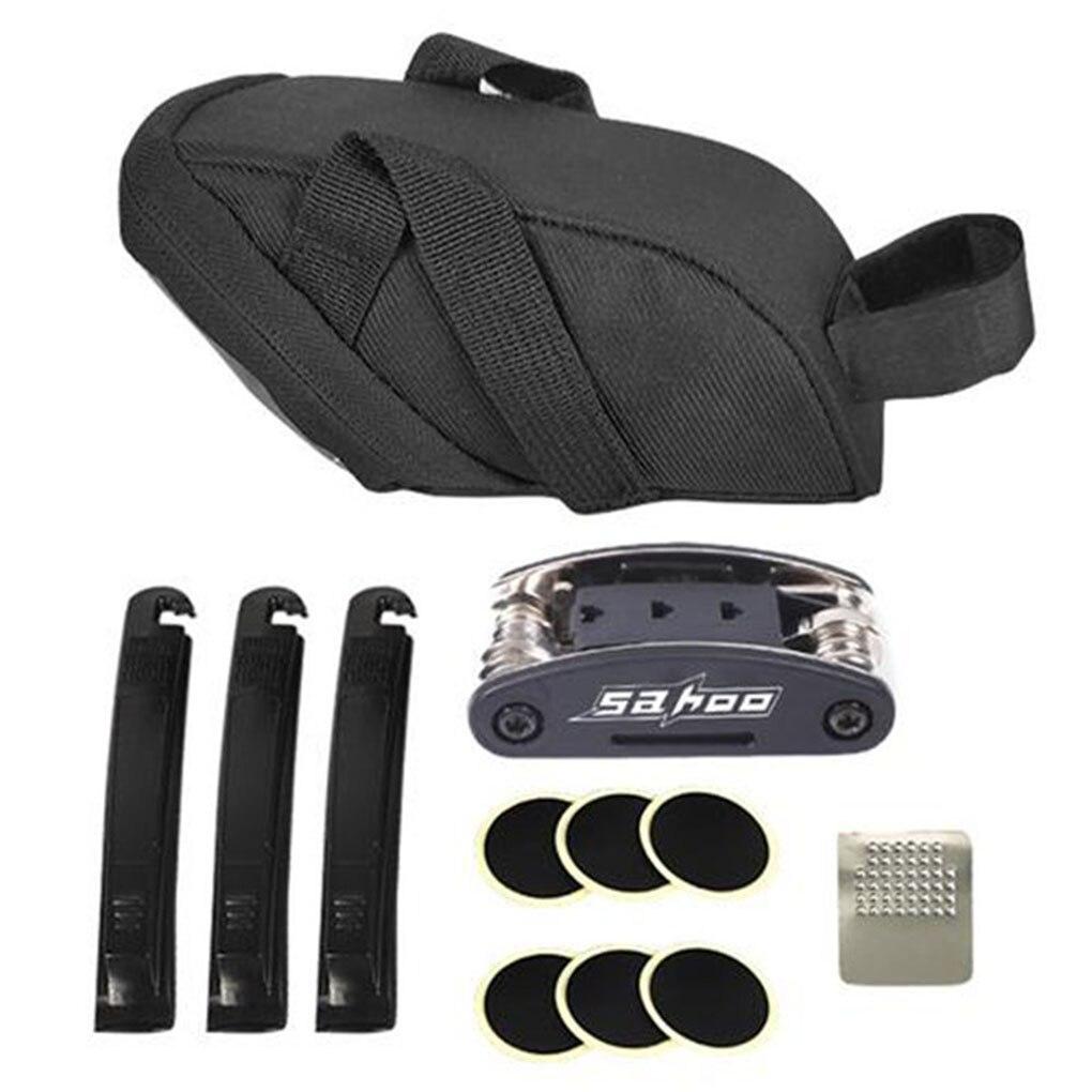 Kit de herramienta de reparación de bicicletas 16 en 1, conjunto de herramientas de sillín de bicicleta reflectante, accesorios de servicio de ciclismo