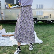summer women chiffon skirt floral printed skirts 02140#