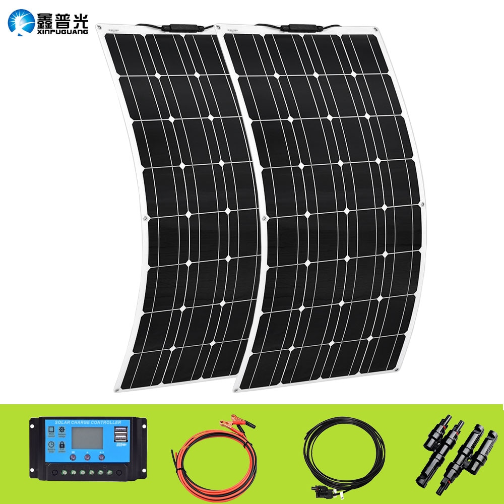 XINPUGUANG 100W Flexible Solar Panel 12V 24V 200W Solar Kit 20A Charge Controller Extension Cable for Battery RV Car Boat Cable