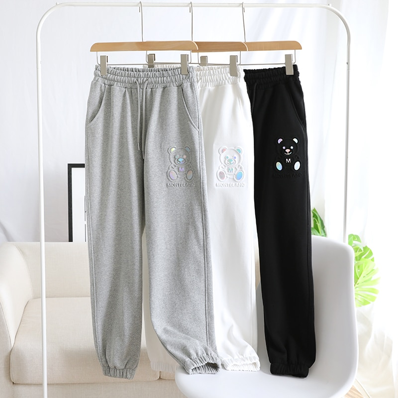 3D Bear Sweatpants Women's Sports Pants Spring and Autumn Summer Loose-Fitting Slimming Ankle-Banded