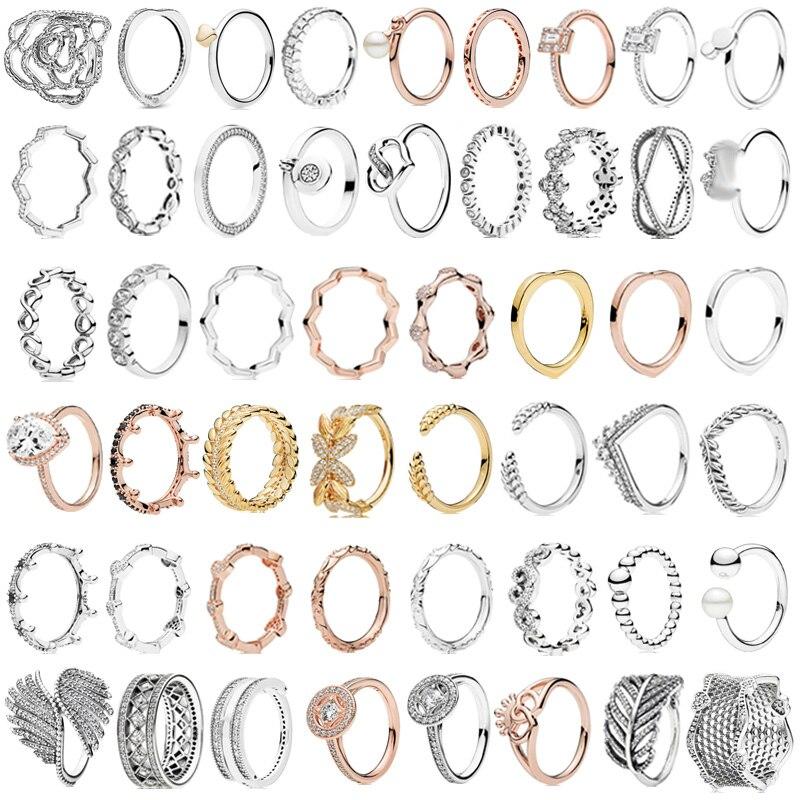 PDB JZ 10 marca Original 100% anillo de Plata de Ley 925 grabado con logotipo brillante amor corazón diamante anillo pluma anillo femenino