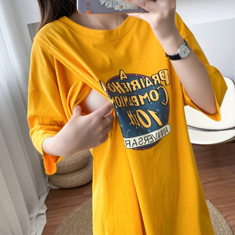 Maternity Breastfeeding Clothes Pregnant Shirt Casual Letter Out Wear for Postpartum Nursing Top Short Sleeve Maternity Tops