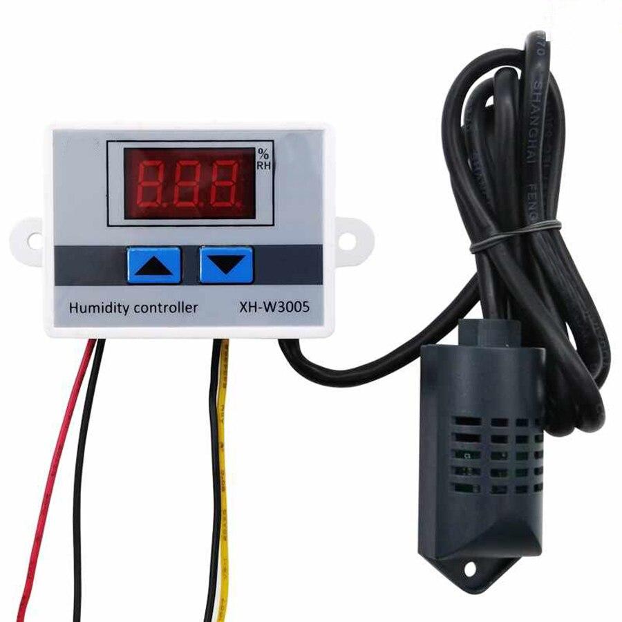 Controlador de Sensor de humedad Digital XH-W3005 12 V/24 V/220 V Humidistat higrómetro interruptor de Control de humedad regulador + Sensor de humedad