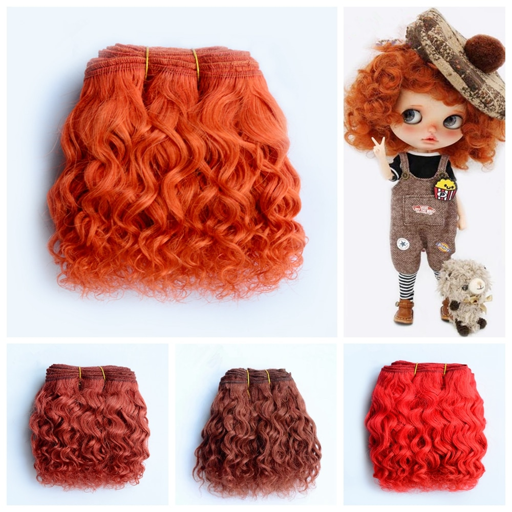 Wholesale High Quality 1 Meter 15cm Wool Small Curl Doll Hair Extention For Blyth Wig Accessories Ha