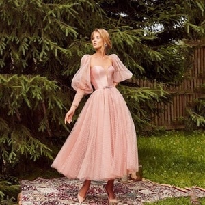 Pink Princess Elegant Homecoming Dresses Puff Long Sleeves Spot Tulle Ball Gown Ankle Length Women Formal Evening Party Gowns
