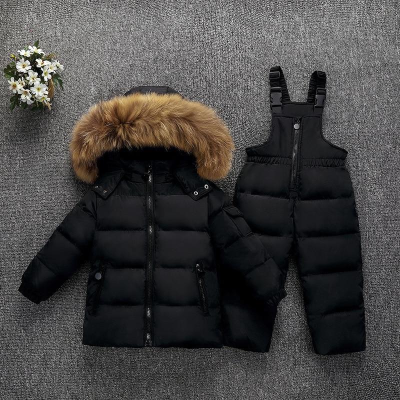 OLEKID -30 درجة روسيا الشتاء الأطفال الفتيان الملابس مجموعة أسفل سترة معطف وزرة لفتاة 1-5 سنوات الاطفال طفلة الثلوج