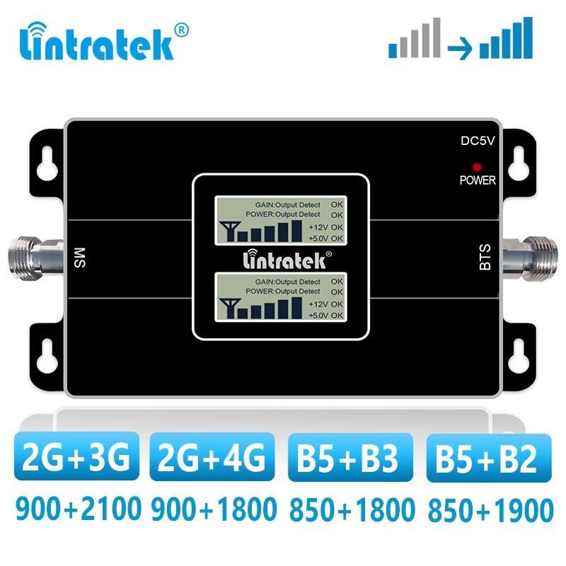 Lintratek repetidor de banda dupla 2g 3g 4g gsm amplificador celular 900 1800 2100 850 mhz lte impulsionador de sinal cdma b5 umts wcdma dcs