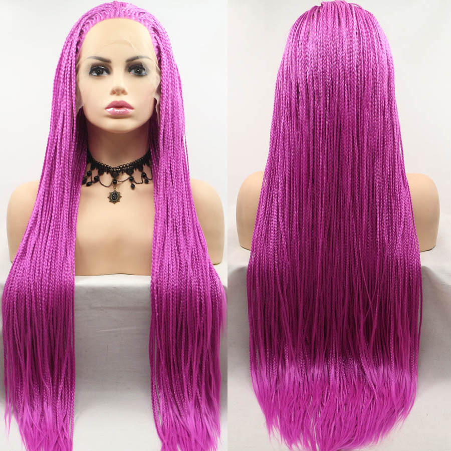 Purple Red Color Long Braided Box Braids Lace Frontal Wigs Heat Resistant Fiber Hair Cosplay Synthetic Lace Front Wig For Women