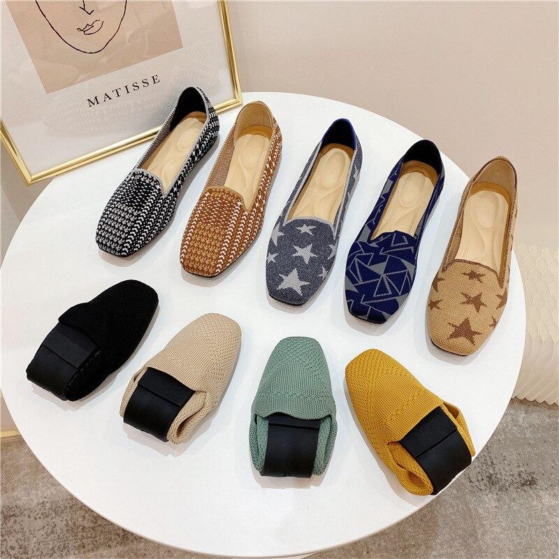 Zapatos planos De punto con punta cuadrada para Mujer, calzado deportivo suave con bloques De colores, mocasines transpirables De Ballet, 2021