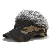outdoor camouflage hat faux hairpiece cap tactical fishing hiking canvas hat men women fashion adjustable sunshade baseball cap