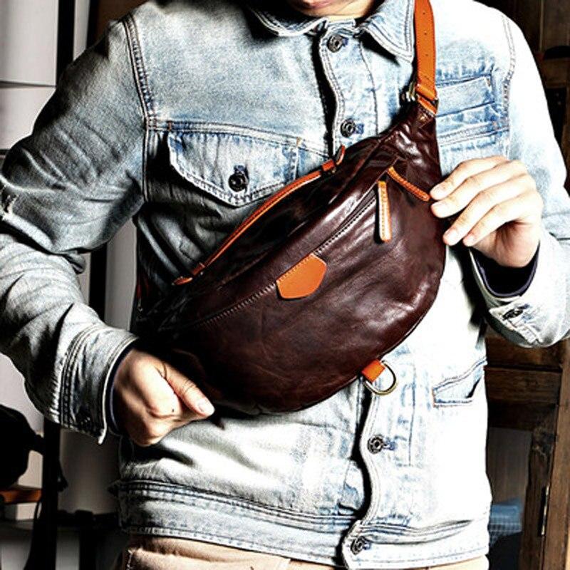 اليدوية الجديدة حزام جلد حقيبة ريترو Ami الكاكي لينة جلدية حقيبة كروسبودي الرجال نمط رعاة البقر حقيبة صدر للرجال