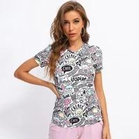fridayin summer women fashion stretchy t shirt with cartoon print o neck graphics female clothes