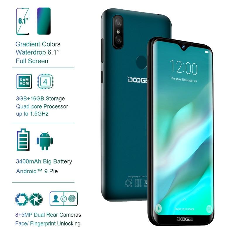 DOOGEE Y8 6,1 дюйм 19:9 в виде капли воды, Дисплей Android 9,0 3400 мА/ч, MTK6739 смартфон, 3 Гб оперативной памяти, Оперативная память 32GB Встроенная память функцией ...