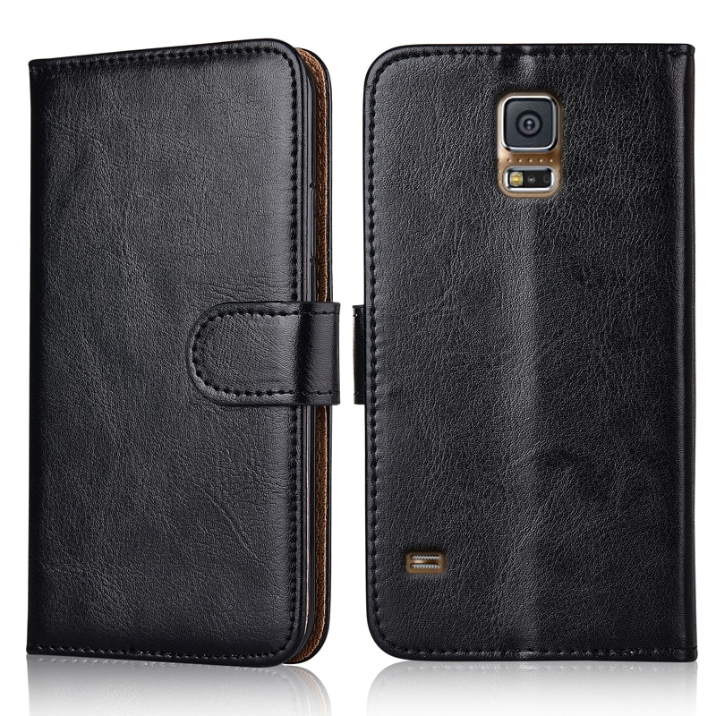 Para samsung s5 g900 capa carteira caso da aleta de couro cabido caso para para samsung galaxy s5 g900 g900f g900h SM-G900F coque