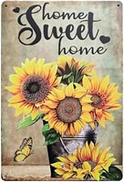 Panneau metallique Vintage tournesol frais pour la maison  decoration de jardin  de ferme  decoration artistique murale  panneaux de Bar a cafe 8