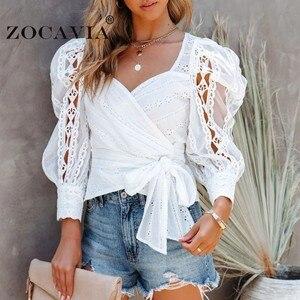 White Shirt Beautiful Women's Blouse Vintage Lacing Tunics Elegant Blouses and Shirts Autumn Women's Clothing Long Sleeve Top