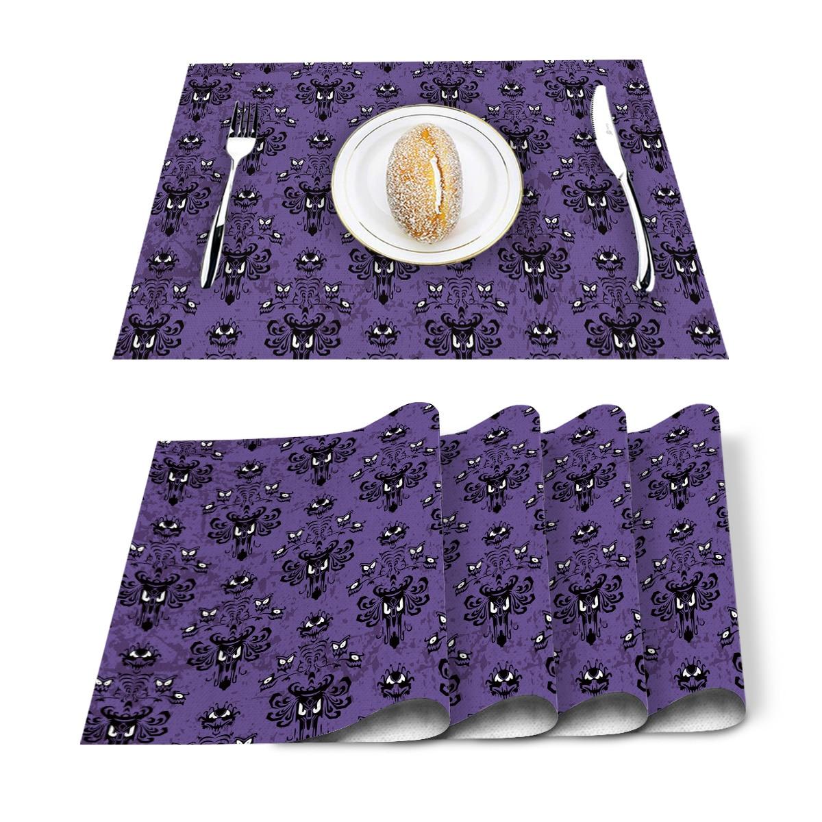 4/6 pçs conjunto de esteiras de mesa assombrado mansão impresso algodão linho guardanapo de mesa acessórios de cozinha festa em casa placemats decorativos