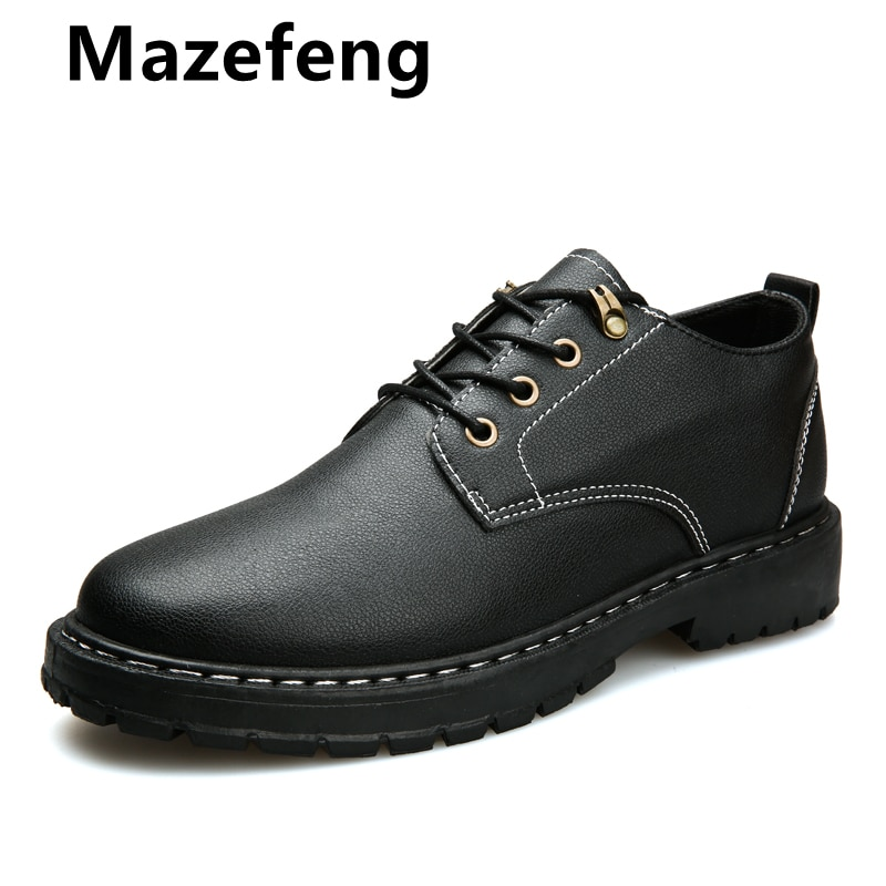 Mazefeng New Men Dress Shoes High Quality Leather Formal Shoes Men Big Size 38-48 Oxford Shoes for M