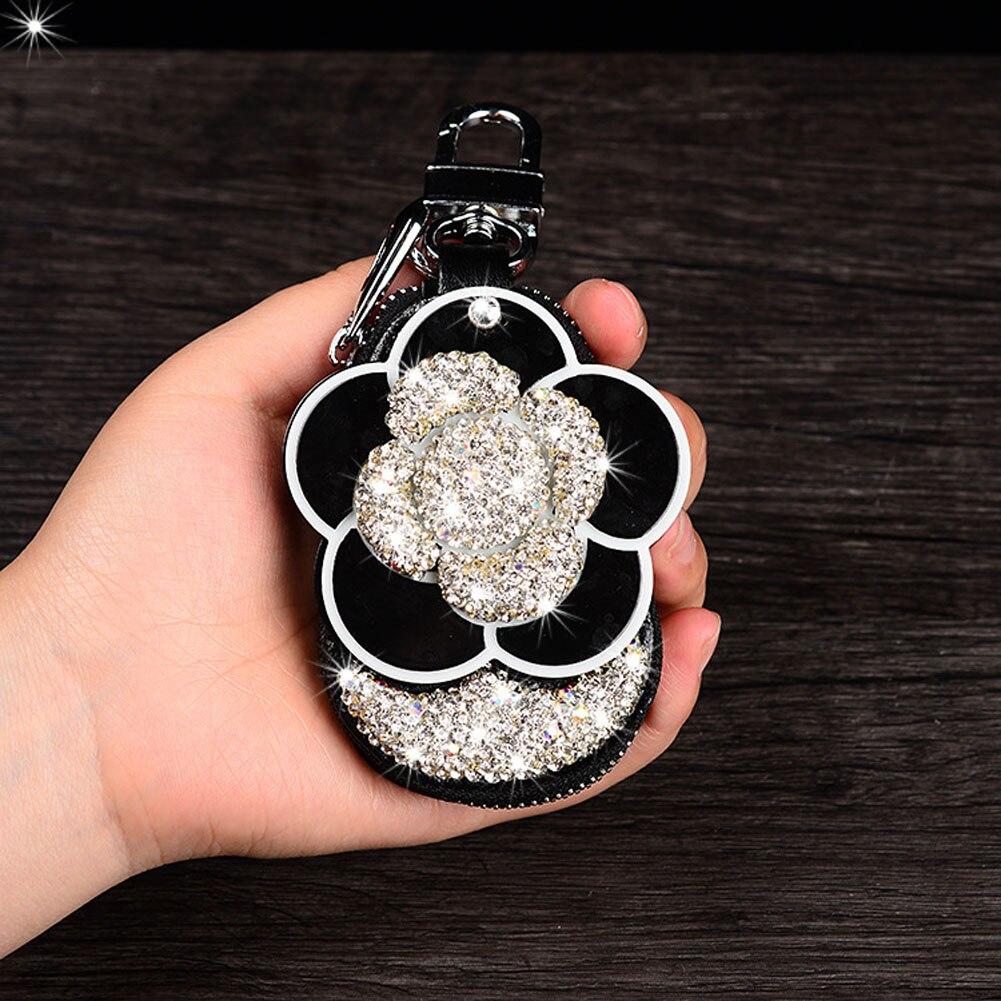 Bolsa de llave de coche con diamantes de imitación Bling para cubierta de llave de coche Universal de cuero con espejo en el interior