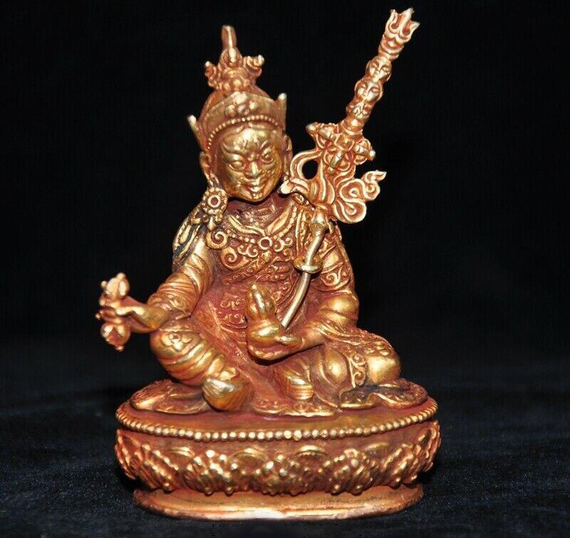 Decoración de la boda de tibet, Budismo de bronce 24k oro dorado Guru Rinpoche estatua de Buda de Padmasambhava