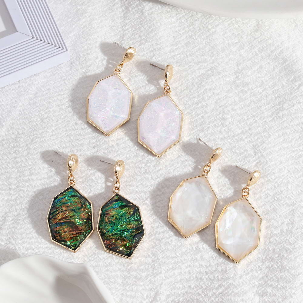 E7592 zwpon iridescente resina brincos geometric irregularidade heptagon brincos para marca feminina boutique jóias geométricas