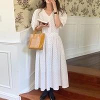 korean one piece elegant fashion casual womens dress 2021 summer french v neck single breasted puff sleeve polka dot midi dress