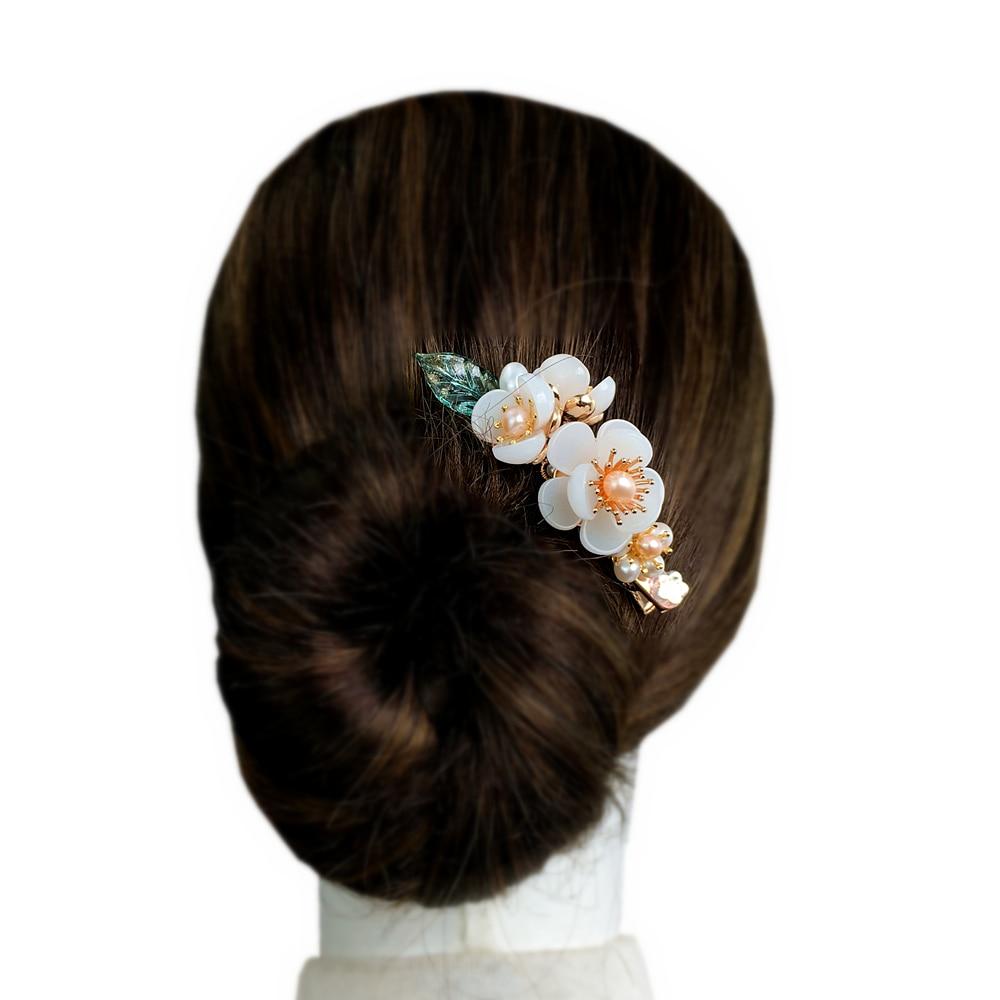 Pasadores de pelo de perla de agua dulce de cobre, pasador de pelo de piedra preciosa, flor, horquilla china, accesorios para el cabello de boda pinza para el pelo WIGO1467
