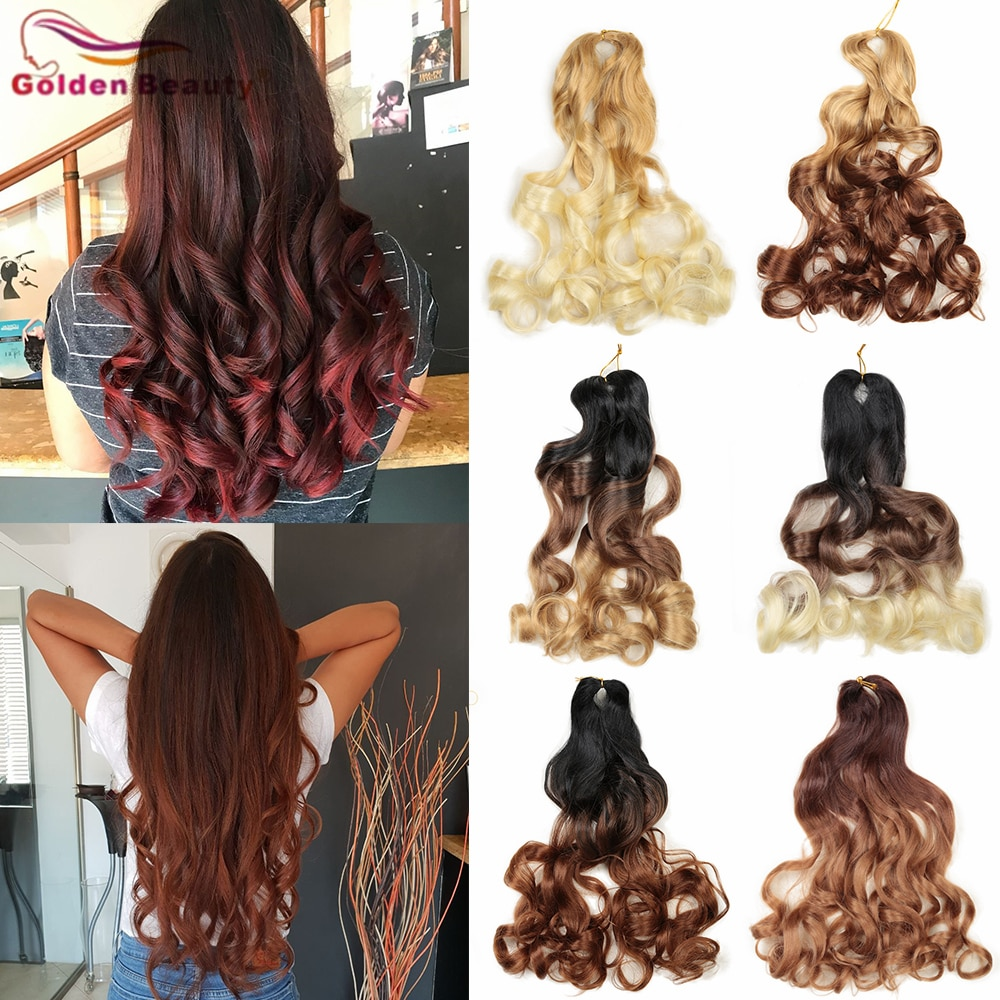 AliExpress - GoldenBeauty Synthetic Loose Braids Wave Curly-End Crochet Braiding Curls Blonde Wine 20Inch Wavy Hair Bundles For Black Women