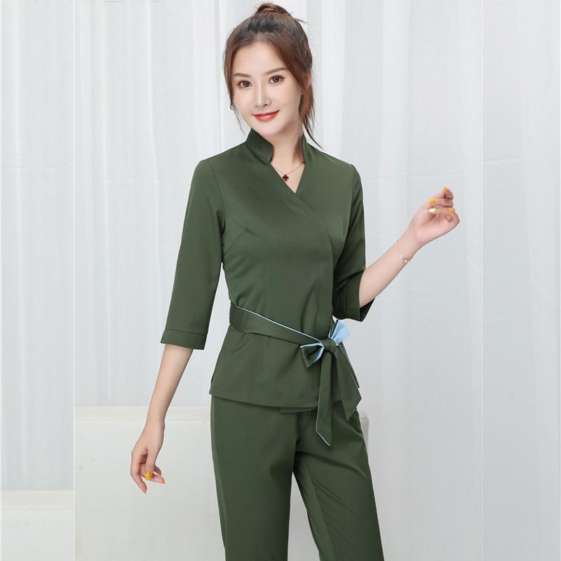 Women Beauty salon work clothing hotel waiter work clothes SPA Uniform autumn Seven-quarter sleeve s