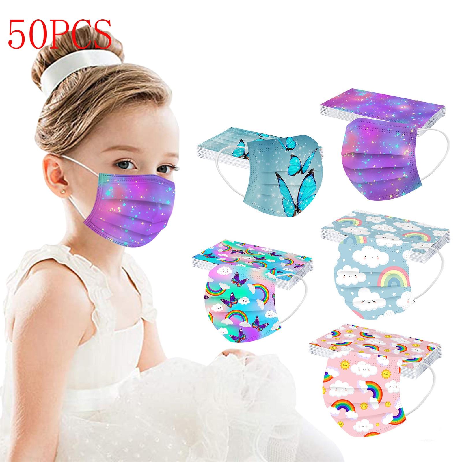 50 Uds mariposa impresa desechable máscara para niños arco iris no tejida...