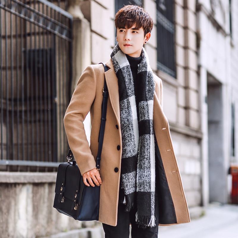 Wool Blend Men's Coat Woollen Overcoat Winter Autumn Men Coat Fashion Brand Clothing Lined Warm Woolen Overcoat Male 5XL